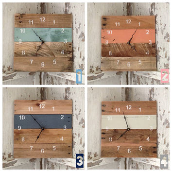 Reclaimed Pallet Wood Wall Clock 10 Color by fieldtreasuredesigns