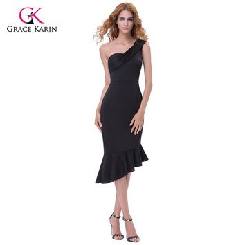 Grace Karin Summer Cocktail Dresses Short Black Formal Gowns Stretch Bodycon One Shoulder Celebrity Party Peplum Mermaid Dress
