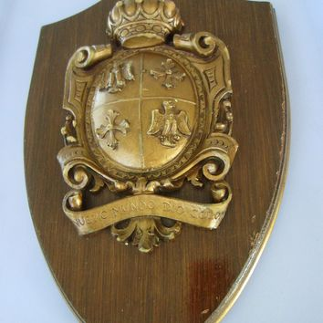 Medieval Wall Plaque Crown Shield Coat Of Arm Nuevo Mundo Dio Colon