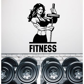 Vinyl Wall Decal Gym Fitness Girl Muscles Sexy Beautiful Body Stickers (3448ig)
