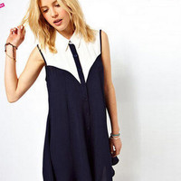 Color Block Sleeveless Lapel Collar Buttoned Dress