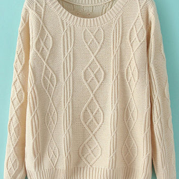 Solid Color Long Sleeve Cable-Knit Sweater