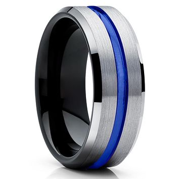Blue Tungsten Ring - Silver Tungsten Ring - Black Tungsten Band - Brush