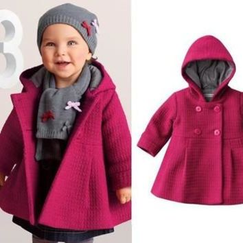 New High Quality Fashion Baby Coat Autumn and Winter Cotton Lining Jacquard Coat 3 Color