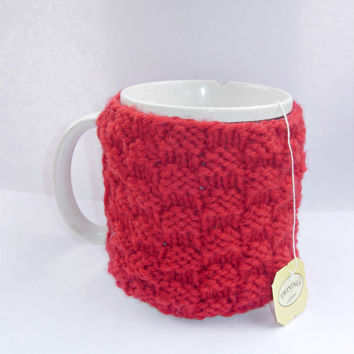 Cup Cozy- Red Knitted Coffee or Tea Cup Cosy- Mug Cozy Cover