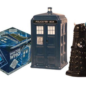TARDIS vs Dalek Salt and Pepper Set :: Unemployed Philosophers Guild