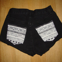 Black high waisted shorts with handmade pocket design