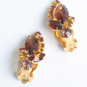 Juliana D and E Earrings Golden Brown and Orange Rhinestones Clip On Vintage