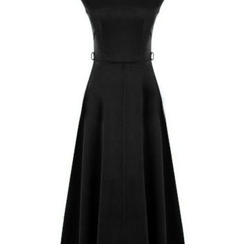 Black Cap Sleeve Maxi Dress