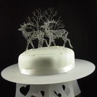 Acrylic Doe and Deer with trees cake topper set with lace detailing