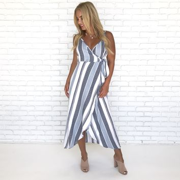 Along the Bay Stripe Midi Dress