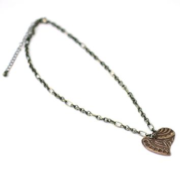 Zentangle Heart Necklace made from Bronze on an Adjustable Chain - Perfect 8th Anniversary Gift