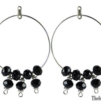 Black Crystal Beaded Chandelier Earrings, Chandelier Earrings, Beaded Earring Components, One Pair of Unfinished Earrings