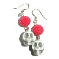 Grey Porcelain Skull with Pink Rose Dangle Earrings