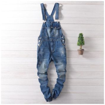 Men Distressed Denim Overalls Mens Denim Joggers With Suspenders New 2017 Scratched Design Garment Washed Male Bib Jeans