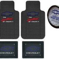 Chevrolet Chevy the Heart Beat of America Blue Bowtie 5pc Combo Front Rear Car Floor Mats Steering Wheel Cover
