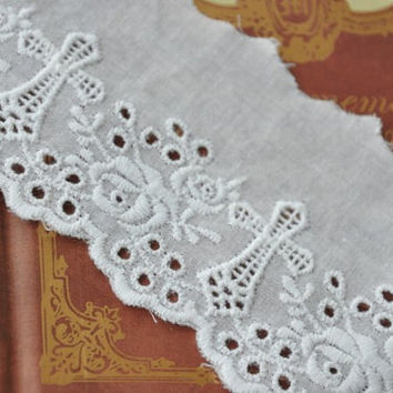Vintage Cross With Roses Cotton Embroidery Lace Trims 2.55 Inches Wide 2 yards