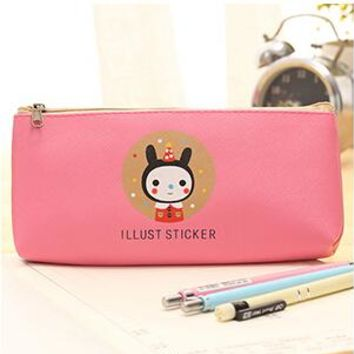 Creative Happy Cats  Leather Waterproof Pencil Case