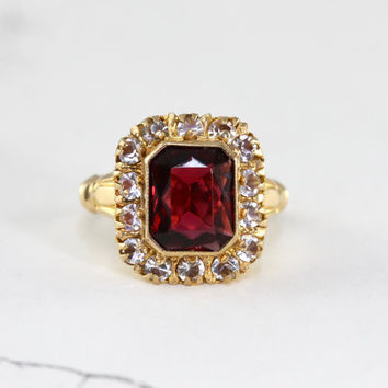 Vintage Garnet & Diamond Paste Cocktail Ring, 10k Yellow Gold Faux Gems, Victorian Revival Bohemian Ring, Circa 1930 Statement Jewelry