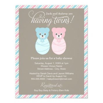 Blue Pink Twins Invite | Beary Sweet Baby Shower from Zazzle.com