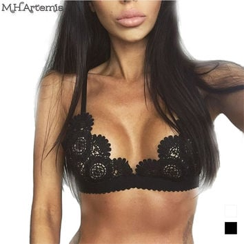 M.H.Artemis Sexy lace bras women sexy hollow out basic top strappy Vintage deep v bra Wirefree bralette top backless intimates