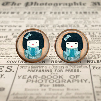 Japanese girl earrings studs posts,Traditional Art jewelry,blue brown,silver stud earring,vintage earring, Kokeshi Doll,glass cabochon