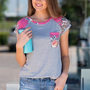 Here To Thrive Pocket Tee : Pink