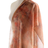 Earth nature silk shawl eucalyptus eco print naturally dyed silk scarf brown orange nature print scarf, ponge silk shawl eco dyed silk scarf