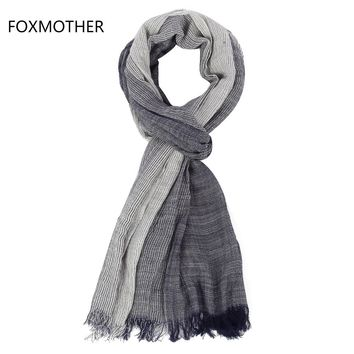 FOXMOTHER 2017 New Brand Autumn Winter Soft Navy White Striped Scarf For Mens