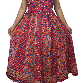 Beautifully Cotton Maxi Dress Floral Print Sleeveless Red Ramona Boho Chic Gypsy Hippie Summer Dresses M/L