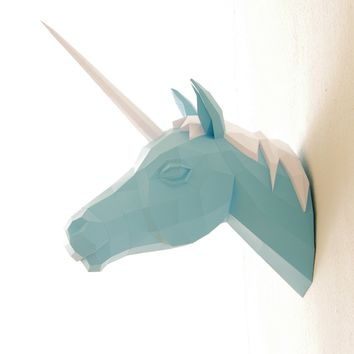 "Papercraft unicorn head mount, paper trophy, #2 ""horn trilogy"""