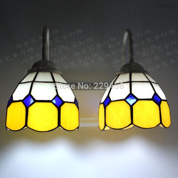 2 Lights Tiffany Wall Lamp Mediterranean Sea Stained Glass Wall Sconce Mirror Stair E27 110-240V