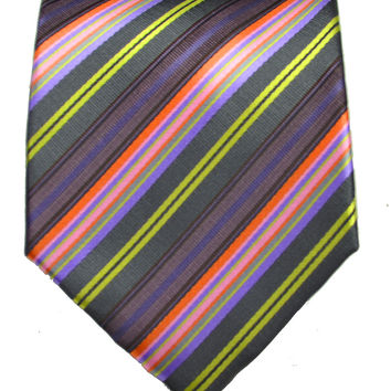 Teal and Grape Striped Men's Tie