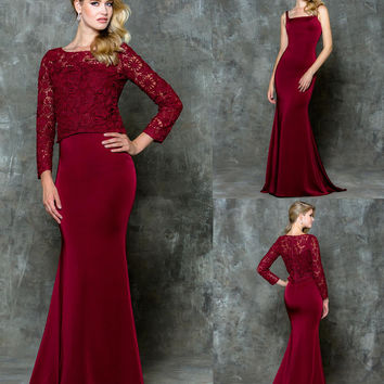 GLOW G735 Burgundy Removable Lace Jacket Prom Evening Dress