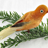 Vintage 1950s Christmas Ornament, Orange Spun Cotton Bird Ornament, Real Feather Bird Ornament, Rustic Ornament, Christmas Tree Ornament
