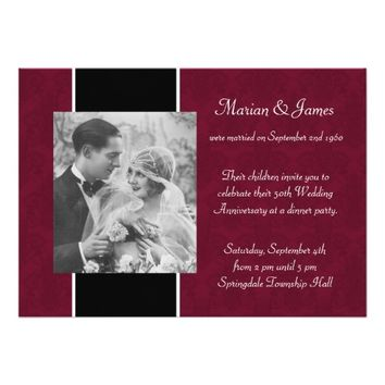 "Photo 50th Wedding Anniversary Party Invitations 5"" X 7"" Invitation Card"
