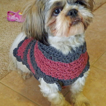 """Hand Crocheted Dog Sweater """"Saving Graces Rescue"""" Collection Small-Medium"""