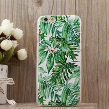 Leaf Print Case Cover for iPhone 5s 6 6s Plus