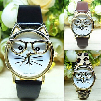 Women Fashion Cute Glasses Cat Case Leather Strap Bracelet Watches Girls Analog Quartz Casual Cool Wrist Watch