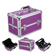 """Ollieroo Makeup Train Case Professional 14"""" Large Make Up Artist Organizer Kit Shoulder Bag With Adjustable Dividers Key Lock Cosmetic Studio Box Designed To Fit All Cosmetics Purple"""