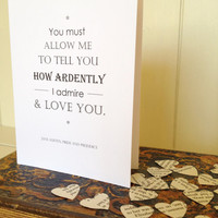 Pride And Prejudice Quote Valentines Card