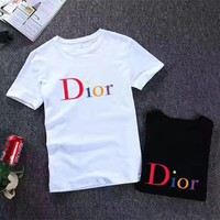 """Dior"" Unisex Casual Fashion Multicolor Letter Print Short Sleeve Couple T-shirt Top Tee"