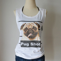funny PUG toy dog mug shoot  - women's singlet Tank Top shirt - animal pet criminal  - XS - S - M - L