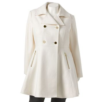 Apt. 9 Double-Breasted Fit & Flare Wool-Blend Peacoat - Women's Plus