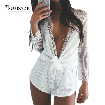 2017 Hot Sale Summer Playsuit Lace Beach Romper for Women Vintage White Long Sleeve Bow High Waist Bodysuit Women Overalls