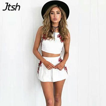 Sexy Spaghetti Strap Peony Flower Short Jumpsuit Romper Summer Beach Playsuit Crop Top Women Two piece Set Shorts White Overalls