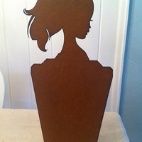 Rustic Ponytail Princess Queen Crown Tiara Silhouette Recycled Metal Jewelry Necklace Display Magnet Memo Board Stand Fixture on Base - $40.50 - Handmade Crafts by Delilah Badapple