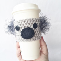 Coffee Cozy Crochet Pattern, Crochet koala Coffee Cozy INSTANT Download, Coffee Sleeve crochet pattern, Pattern for koala coffee cozy, Gift