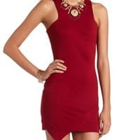 Asymmetrical Body-Con Dress by Charlotte Russe - Oxblood