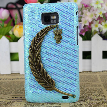 Bronze Big Leaf,Small Cute Owl And Hard Case Cover for Samsung Galaxy S2 S 2 II i9100